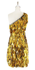 Short Handmade Rectangle Paillette Sequin Dress in Gold and Silver faceted beeds One-shoulder Cut back view