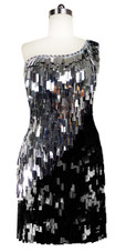 Short Handmade Rectangle Paillette Sequin Dress in Black and Silver with One-shoulder Cut front view