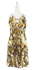 A short handmade sequin dress, in rectangular mixed metallic silver and gold paillette sequins dress front view