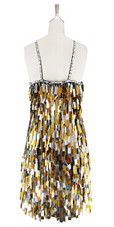 A short handmade sequin dress, in rectangular mixed metallic silver and gold paillette sequins dress back view