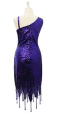 Short Dark Purple Sequin Fabric Dress With Jagged Beaded Hemline Back View