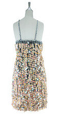 A short handmade sequin dress, in 20mm iridescent peach paillette sequins with silver faceted beads back view