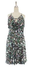 A short handmade sequin dress, in 20mm iridescent grey paillette sequins front view