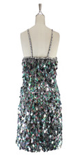 A short handmade sequin dress, in 20mm iridescent grey paillette sequins back view