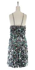 A short handmade sequin dress, in 20mm iridescent grey paillette sequins back view