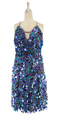 A short handmade sequin dress, in 20mm mixed metallic turquoise and metallic purple paillette sequins front view