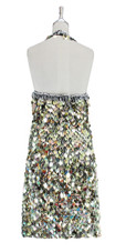 A short handmade sequin dress, in 20mm metallic iridescent gold paillette sequins with silver faceted beads back view