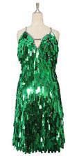 A short handmade sequin dress, in rectangular emerald green paillette sequins front view