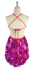 A short handmade sequin dress, with 10mm hologram fuchsia fishscale sequins back view