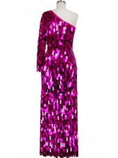 Long Handmade Paillette Sequin Gown in Metallic Fuchsia with One-Sleeve Cut back view