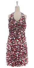 A short handmade sequin dress, in 20mm silver and hologram red sequins with silver faceted beads front view