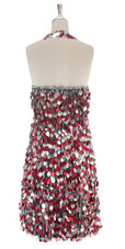 A short handmade sequin dress, in 20mm silver and hologram red sequins with silver faceted beads back view