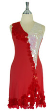 Short Handmade Sequin Paillette Dress in Red and White front View