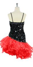 Short Handmade 20mm Paillette Hanging Black Sequin Dress with Red Diagonal Organza Hemline back view