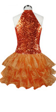 Short  Sequin Fabric Dress In Copper With Ruffle Hemline With A Keyhole Chinese Collar Back View