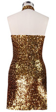Short patterned dress in silver and gold sequin spangles fabric with Chinese collar back view