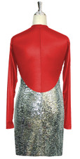 Short patterned dress with sleeves in silver sequin spangles fabric and red stretch fabric Back View