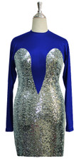 Short patterned dress with sleeves in silver sequin spangles fabric and blue stretch fabric Front View