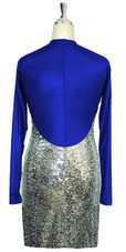 Short patterned dress with sleeves in silver sequin spangles fabric and blue stretch fabric Back View