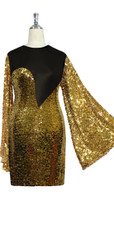 Short patterned dress with oversized sleeves in gold sequin spangles fabric and black stretch ITY fabric Close cut View