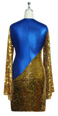 Short patterned dress with oversized sleeves in gold sequin spangles fabric and blue stretch ITY Back View