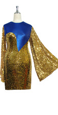 Short patterned dress with oversized sleeves in gold sequin spangles fabric and blue stretch ITY close cut View