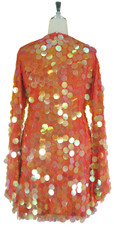 Short Handmade 30mm Paillette Hanging Iridescent Orange Sequin Dress with V Neck and Oversized Sleeves back view