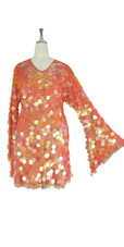 Short Handmade 30mm Paillette Hanging Iridescent Orange Sequin Dress with V Neck and Oversized Sleeves view