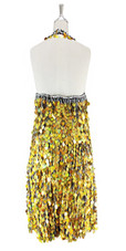A short handmade sequin dress, in 20mm metallic iridescent gold paillette sequins with silver faceted beads, a luxe grey fabric backround and a halter neck cut back view