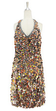 Short handmade sequin dress, in hologram copper-brown paillette sequins with silver faceted beads, a luxe grey fabric background and a halter-neck cut front view.