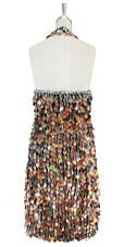 Short handmade sequin dress, in hologram copper-brown paillette sequins with silver faceted beads, a luxe grey fabric background and a halter-neck cut back view.