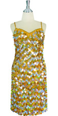 Short Handmade 20mm Paillette Hanging Sequin Dress in Mixed Hologram Silver and Gold front view