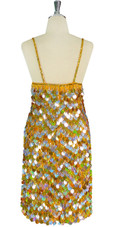 Short Handmade 20mm Paillette Hanging Sequin Dress in Mixed Hologram Silver and Gold back view