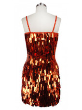 Short Handmade Rectangular Paillette Hanging Metallic Copper Sequin Dress back view