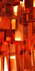 Short Handmade Rectangular Paillette Hanging Metallic Copper Sequin Dress close up