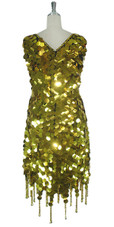 Short Handmade 30mm Paillette Hanging Metallic Gold Sequin Dress with Jagged, Beaded Hemline back view
