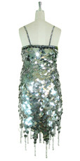 Short Handmade 30mm Paillette Hanging Metallic Silver Sequin Dress with Jagged, Beaded Hemline back view