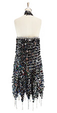 Short handmade sequin dress, in black paillette sequins with silver faceted beads, a Chinese collar and jagged, beaded hemline back view