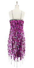 Short handmade sequin dress, in metallic fuchsia paillette sequins with silver faceted beads, a luxe grey fabric background and a jagged beaded hemline back view