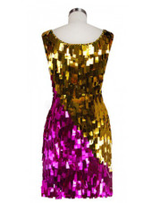 Short Handmade Rectangle Paillette Sequin Dress in Metallic Fuchsia and Gold and with a sweetheart neckline back view