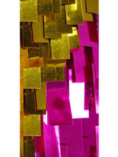 Short Handmade Rectangle Paillette Sequin Dress in Metallic Fuchsia and Gold and with a sweetheart neckline close up view