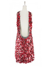 Short handmade sequin dress, in 20mm metallic red paillette sequins with silver faceted beads, a luxe grey fabric background and a low-cut cowl back back view.