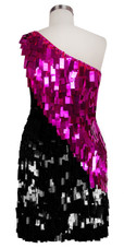Short Handmade Rectangle Paillette Sequin Dress in Fuscia and Black with One-shoulder Cut back view