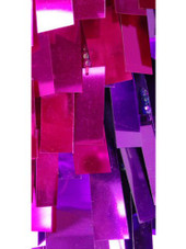 Short Handmade Rectangle Paillette Sequin Dress in Metallic Fuchsia and Purple and a One-Sleeve Cut close up view