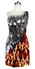 Short Handmade Rectangle Paillette Sequin Dress in Copper and Silver with One-shoulder Cut front view