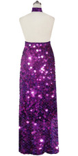 Long Handmade Paillette Sequin Gown in Metallic Purple with Chinese Collar Back View