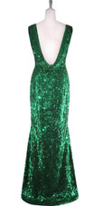 Long Cowl Back Handmade 8mm Cupped Sequin Dress in Metallic Emerald Green back view