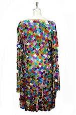 Short Handmade Hologram Multicolored Paillette Sequin Dress with Long Sleeves back view