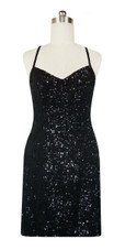 Short Handmade 8mm Cupped Sequin Gown in Classic Black front view