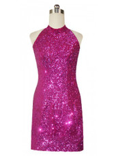 Short Chinese Collar Handmade 8mm Cupped Sequin Dress in Metallic Fuchsia front view